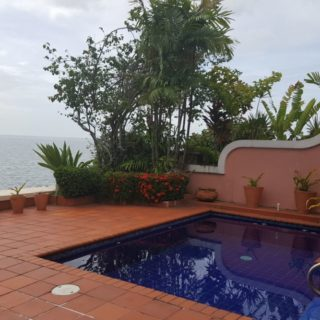 3 bedroom, 2 storey waterfront villa with patio, private pool and spectacular panoramic views out to sea