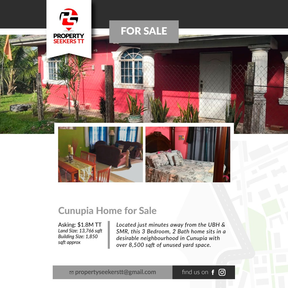 Cunupia 3 Bedroom House on 13,766 sqft for Sale TT$1.6M