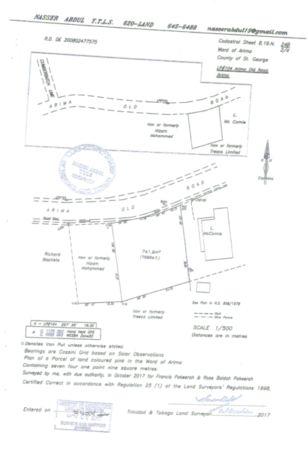 Land for Sale- Arima Old Road, D'Abadie